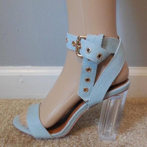 Light Wash Denim Buckled Ankle Strap Lucite Heels